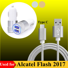 2-Ports USB Quick Car Charger Adapter & 3FT Type C USB 3.1 USB-C Charging Data Cable for Alcatel Flash 2017 Phone Chargers
