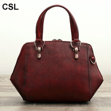Limited edition luxury handbags women tote bags designer Retro quality cowhide genuine leather woman cross body messenger bags(China)