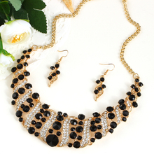 Creative Black Jewelry Sets For Evening Party Women's Fashion Geometric Dangle Earrings Chokers Necklace Rhinestone Gift Jewelry