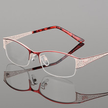 JIE.B Hollow Out Glasses Half Frame Optical Women Vintage Myopia Design Eyewear Oculos De Grau Feminino Gafas