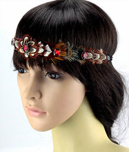 Free Shipping! Indian Style Feather Headdress Fashion headband Dress Prom Dance Party Headwear hair accessories(China)