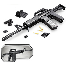 DIY Nerfs Elite Gun M16 Submachine Gun Machine Carbine Toy Gun Model Building Block Set Plastic Toy Gift For Children