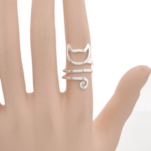 fashion lychee Fashion  Women Matte Kitten Cat Adjustable Wrap Ring Animal Finger Ring