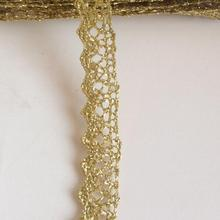 20 Yards 1.5cm Width Fashion DIY Gold Lace Trim Exquisite Gold Thread Woven Pattern Handmade Diy Accessories(China)