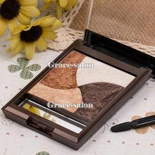 3D Makeup 4 Colors Slight Baked Eyeshadow Neutral Smoky Nude Baking Eye Shadow