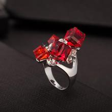 Hot Sell Fashion Red Crystal Silver Ring Ice Shape shiny Square Crystal Charming Rings For Women Party Jewelry Gift Free Ship