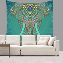 Smiry Animal Indian Elephant Printing Tapestry 150X130cm Short Plush Wall Hanging Beach Towel Yoga Mat Decor Livingroom Bedroom(China)