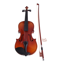New Basswood Violin Toy 1/8 Full Size Natural Acoustic Violin with Case Bow Rosin Bridge Toy Musical Instrument