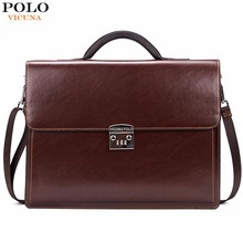 VICUNA POLO Luxury Business Mens Briefcase With Code-Lock High Quality OL Business Man Bag Italy Brand pasta executiva masculino(China)