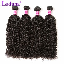 Luduna Hair Malaysian Water Wave 100g One Piece Human Hair Bundles Natural Black Non-remy Hair Weave Can Be Straighten And Dyed