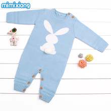 Baby Girl Bodysuits Winter Warm Newborn Boys One-Piece Jumpsuits Cute Rabbit Knit Long Sleeve Body Suits Legs Sunsuit 0-24M - HD Mimixiong Store store