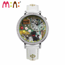 M:N: Handmade POLYMER CLAY double glass Korea Mini watch ladies Women's watches girls clock relogio feminino children wristwatch(China)