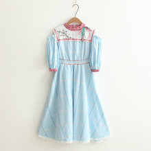 Japanese Complex Small Stand Collar Embroidery Lantern Sleeve Plaid Strapless Dress Long Section of The New Princess Dress(China)