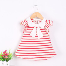 0-18M Baby Girl Dress Baby Girl Summer Cotton Striped Bow Dress Infant Clothing 1 Year Birthday Dress for Girls(China)