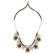Vintage Women Exaggeration Accessories Knitted Double Layer Natural Pattern Stone Flower Statement Pendant Necklace VN15