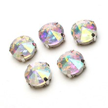 20pcs/pack Round Crystal Glass Rhinestone Sew On Claw Rhinestone For Clothing Dress Ornaments DIY Crafts Decorations