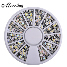 1 Box Symphony AB Glitter Metal Nail Art Studs Decoration Wheel Square Round Triangle Shaped Fashion 3D Accessories Tools
