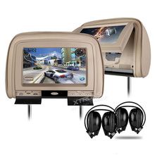"2x9"" HDMI Car Pillow DVD Monitor HD 1080P Headrest Video Detachable Zip Cover Support 32 Bits Game IR FM USB TF Backseat Audio"