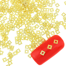 100 Pcs/Lot Gold Color Beads Square Design Metal Diy Studs For Nails Charms 3D Copper Nail Art Rhinestones & Decorations PJ418