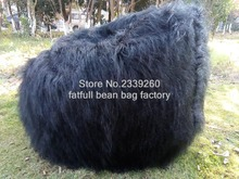 Long & Large Faux Fur Beanbag Bean Bag Cover Shaggy Fur Black Soft Luxury Lounge Chair-self factory made - Cover only No Filler
