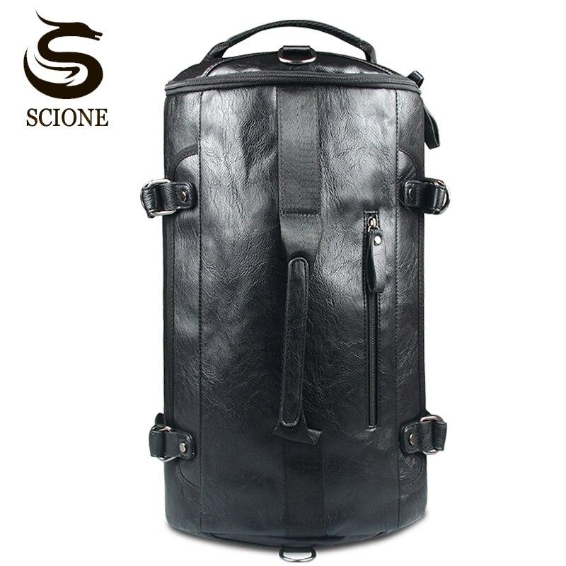Multifunction Leather Backpack Solid Black Color PU Travel Bag Men Male Large Capacity Shoulder Bags School Backpacks Rucksack<br>
