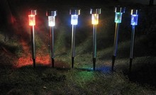 Solar Power Efficient Color Changing Multicolor Lawn Grass Landscape Stainless Steel Light Practical Lamp Garden Ornaments