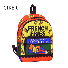 CIKER Brand new food hot dog printing backpack women bag fashion student backpacks for teenage girls daypack school bags mochila