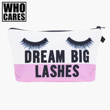 lashes 3D Printing Necessaire Women Cosmetics Bags New Travel Make up Bag Organizer Maleta de Maquiagem Organizador Makeup Bag(China)