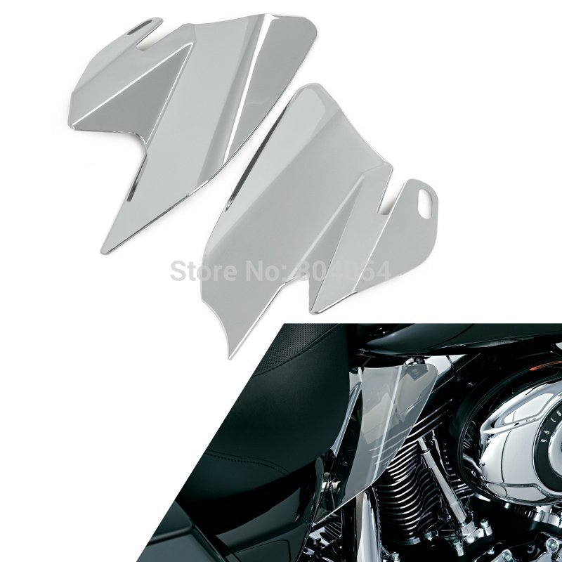 Chrome Plated Saddle Shield Engine Heat Deflectors For Harley Touring Model 2008<br>