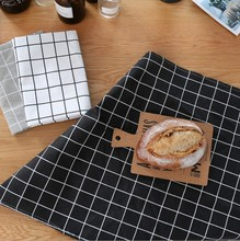 Black White Color Printed Plaid Cotton And Linen Place Mat Home Restaurant Decoration Eat Mat Napkin(China)