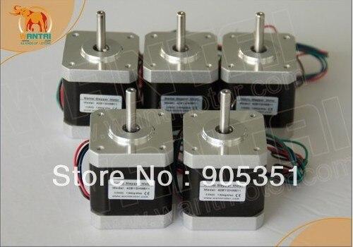 High quality !!! 5 PCS CNC Nema17 for 1.7A, 4000g.cm, 40mm length,2 phase Wantai Stepper Motor<br>