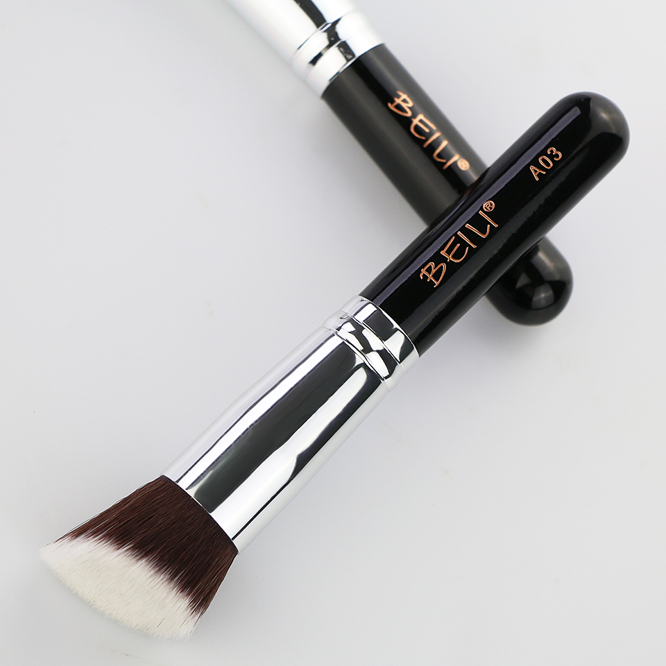 BEILI 1Pc Kabuki Soft Dense Grey Synthetic Hair Powder Foundation Blusher Contour Makeup Brushes 12