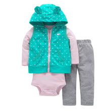 2018 Spring Baby Girls Clothes Set 3PCS New Fashion Bodysuit+Pants+Vest Set Vestido Infant Baby Clothing Set Cartered Style(China)