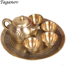 Luxury Copper Tea Set Six-Piece Set Teapot 4 Cups Plate Family Wedding Gift Vintage Retro bronze Teaware Chinese Kung Fu tea set(China)