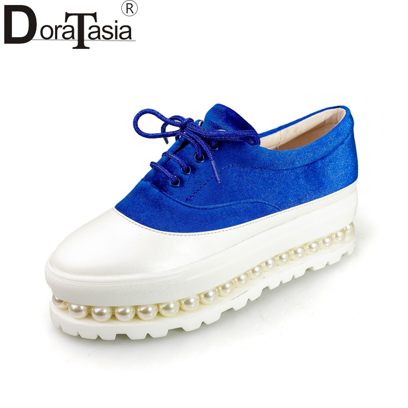 DoraTasia 2018 Large Size 32-43 platform flats pearls spring Women Shoes Woman wine blue green Brand shoes Woman Footwear<br>