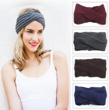 2016 new winter knitting wool headband solid ladies handmade Warm Cross Headband earmuff Headwrap Hairband 7 colors for women