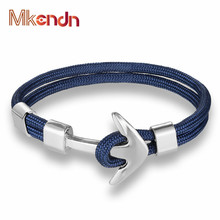 MKENDN Hot Sale New Fashion Jewelry navy style Sport Camping Parachute cord Anchor Bracelets Men Women Wrap Bracelets Pulsera