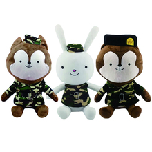 1pc 30cm Cute Camouflage Rabbit Wolf King Descendants of the Sun The Same Paragraph Plush toy Soft Stuffed doll kids Gift(China)