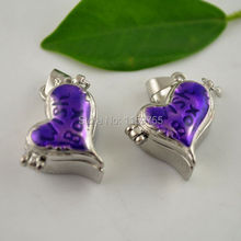 Hot~ 30pcs Purple Enamel Heart Prayer Wish Craft Photo Frame Locket Box Finding Fit Charms Necklace Pendant