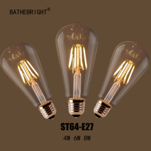 Free shipping Retro LED Filament Light lamp E27 4W 6W 8W AC 220V ST64 Clear Glass shell vintage edison led bulb(China)