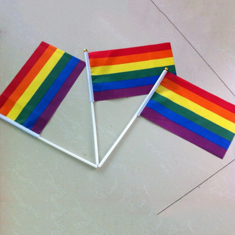 Hot! Rainbow Flag 90×150/60×90/14x21cm Lesbian Gay Pride Polyester LGBT Flag Banner Rainbow  Home Decoration Gay Parade Flag