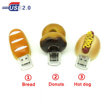 new cartoon bread/donuts/hot dog usb flash drive disk memory stick pendrive Pen drive personalized 4GB 8GB 16GB 32GB mini gift
