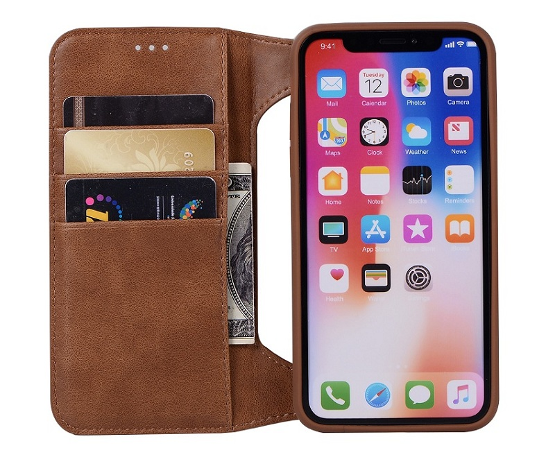 genuine leather flip case for iPhone x luxury card covers