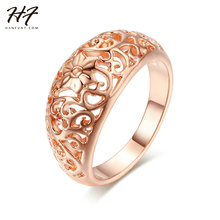 Top Quality Flower Hollowing craft Rose Gold Color Ring Fashion Jewelry Full Sizes Wholesale R281