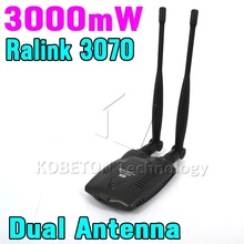 3000mW Wireless Wifi Adapter Receiver + Long Range Dual Wi fi Antenna Ralink 3070 Free Internet for Desktop PC