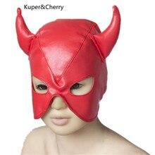 Эротические Игрушки Дьявол Маски Рабства Раб Голова Капот Половина Закрытый Весело Головные Уборы Маски Секс Игры Для Пары 2 C