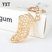 Fashion Gold Women Shoe High Heel Lady Girl Charm Pendant Purse Bag Car Key Ring Chain Creative Wedding Party Gift(China)