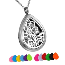 Tree Life Stainless Steel Water Drop Perfume Locket Essential Oil Diffuser Necklace Aromatherapy Pendant Necklace With 12 Pads