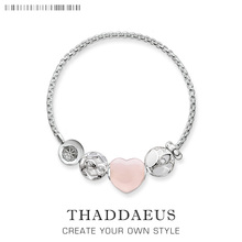 2017 Brand New Beads Bracelet Pink Heart Lotus,Thomas Style Karma Silver Romantic Ts Fashion Jewelry Gift For Women Lover