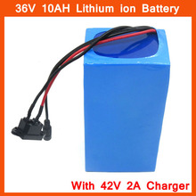 Rechargeable 36V 10AH battery 36V 10S Scooter Electric Bike battery 36V 10AH Ebike Lithium battery with 15A BMS 42V 2A charger